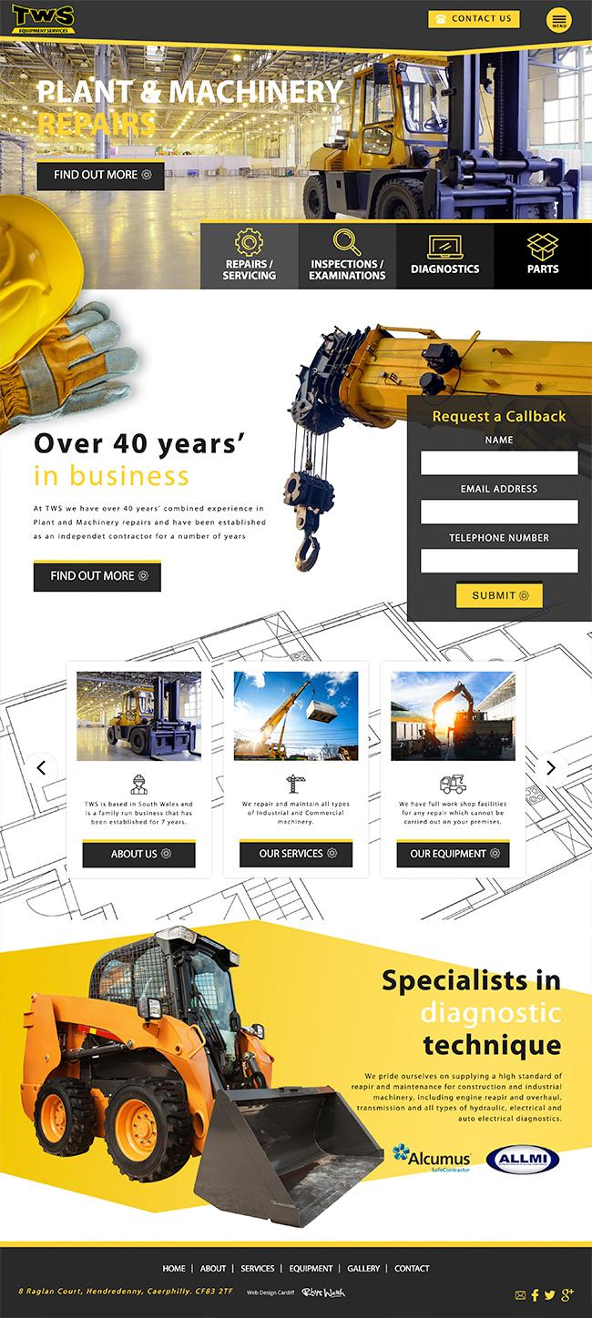 equipment services web design
