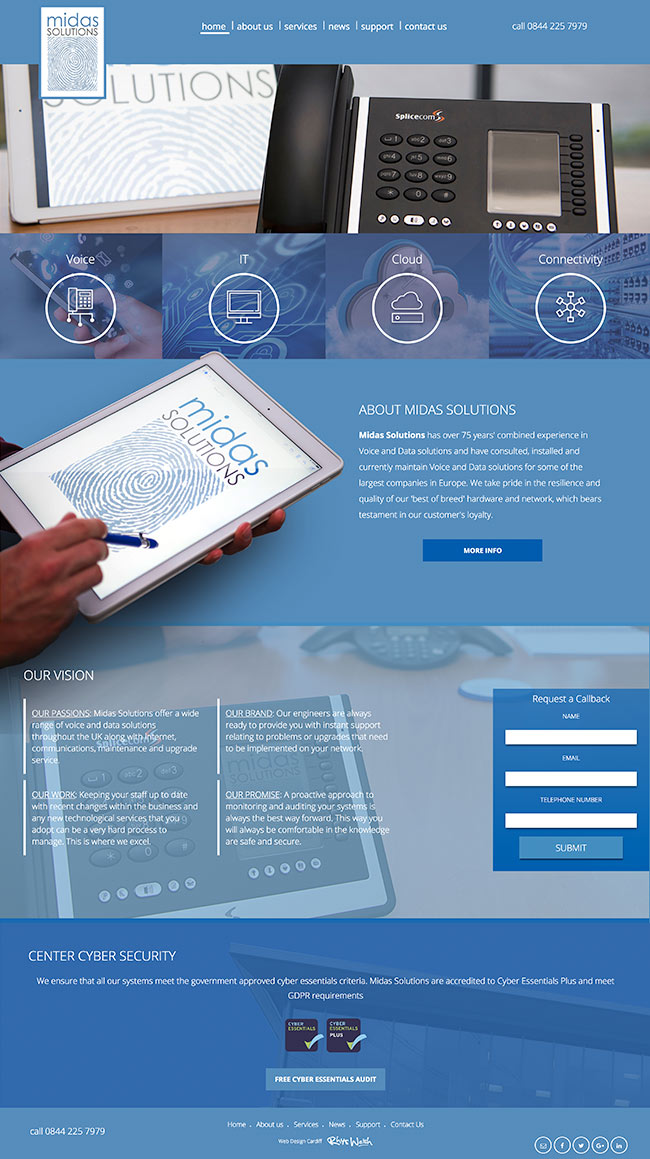 Telecoms website design cardiff